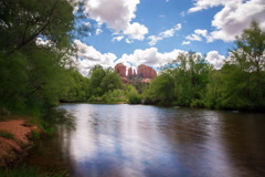 5K Time Lapse of Cathedral Rock over Reflecting River in Sedona, AZ  - stock footage