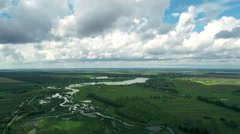 Village and Fields With a Bird's-eye view in Spring Stock Footage
