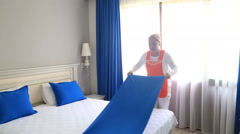 Maid Cleans The Room At The Hotel 9 Stock Footage