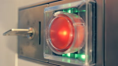 Electronic lock signalized by flashing green lights, on the illegal entry Stock Footage