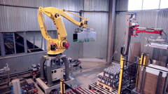 Automated Robotic Arm Loading and assembling products Stock Footage