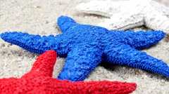 Red, white and blue starfish - stock footage
