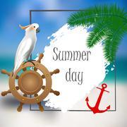 White parrot, helm, anchor. Sample text. Stock Illustration
