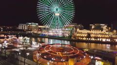 view of the amusement park Yokohama Cosmo WORLD - stock footage