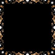 Black Background with Decorated Borders - stock illustration