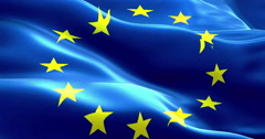 EU flag, euro flag, flag of european union waving Stock Footage