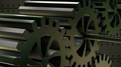Rotating gears in metal color - stock footage