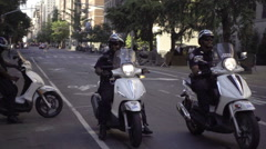 police motorcycles on sunny summer day in NYC in 1080 HD - stock footage