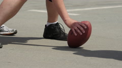 Close up view of football player hand. Stock Footage