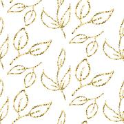 Gold glitter foliage seamless pattern Stock Illustration