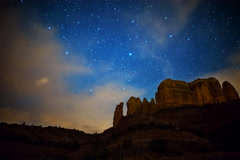 5K Astro Time Lapse of Stars over Cathedral Rock in Sedona, Arizona  - stock footage