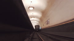 Moscow metro station. Subway train went to the next station Stock Footage