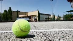 Tennis ball on tennis court Stock Footage