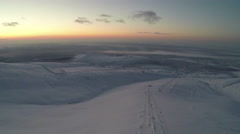 Khibiny Mountains in Twilight, Aerial View Stock Footage