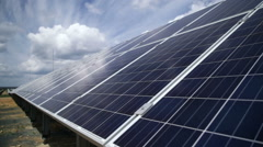 Solar power plant. solar panels - stock footage
