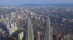 View from a drone on the Petronas Twin Towers, Indonesia, Kuala Lumpur Stock Footage