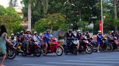 Evening traffic view of Nguyen Thai Hoc street in Vung Tau city Stock Footage