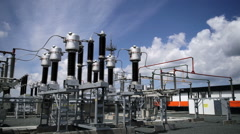 Electric power station. Power lines Stock Footage