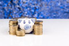 Piggy bank with stack of coins and blurry background - stock photo
