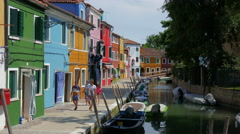 Venetian lagoon - Burano island - Walking in a colorful street Stock Footage