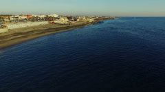 Ostia, Rome. Buildings lining the beach. Aerial drone video. N. Stock Footage