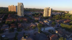 Wide aerial view of house destroyed by powerful blast Stock Footage