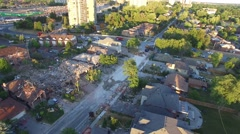 Elevated view of disastrous scene of house explosion Stock Footage