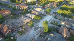 House obliterated after explosion in residential neighborhood Stock Footage