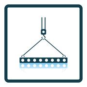 Icon of slab hanged on crane hook by rope slings Stock Illustration