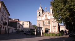 Baroque architecture Church of St. Peter in vila real portugal - stock footage