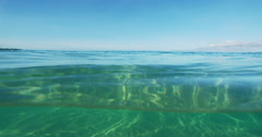 Beautiful Ocean Above and Bellow Split View Stock Footage