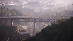 Old steel bridge vila real portugal Stock Footage