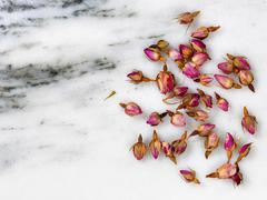 Dry flowers on natural white marble stone Stock Photos