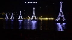 Night view at illuminated towers of Vinpearl cable way Stock Footage