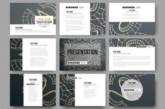 Set of 9 vector templates for presentation slides. Polygonal backdrop with - stock illustration