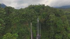 Nice view of the waterfall Sekumpul in Indonesia Stock Footage