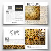 Set of square design brochure template. Islamic golden vector texture, geometric Stock Illustration