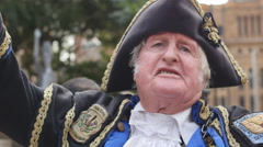 Brexit UK'S EU Referendum, Town Crier, 'The UK Have Left The European Union.' Stock Footage