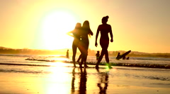 SLOW MOTION: Young girls friends enjoying summer vacation at the seaside Stock Footage