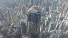 Flying near a building in the heart of Hong Kong Stock Footage