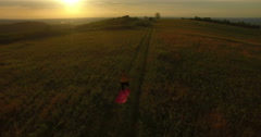 Aerial: camera tilt up over young woman doing yoga in a field at sunset. Stock Footage