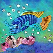 Colorful Aquarium Fish - stock illustration