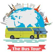 Vector conceptual illustration - The Bus Tour of Europe and popular familiar Stock Illustration