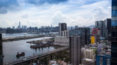 4k Timelapse Top View of Hong Kong Cityscape day whit cloud, skyline of city-Dan Stock Footage