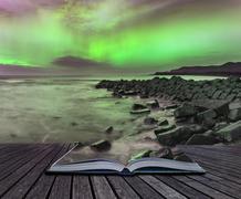Beautiful Northern Lights Aurora Borealis over coastal landscape Kuvituskuvat