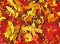 Autumn leaves collage in orange and red tones Stock Illustration