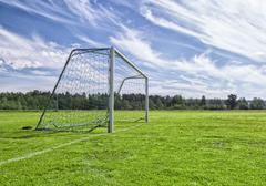 Soccer Goal on Soccer Pitch - stock photo