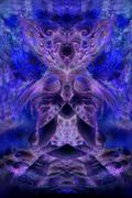 abstract background collage with psychedelic motive in blue violett tones - stock illustration