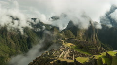 Time lapse of machu picchu on a misty morning Stock Footage