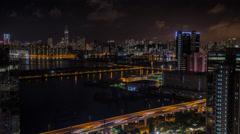 4k Timelapse Top View Of Hong Kong Modern Skyscrapers Night In Kowloon Bay-Dan Stock Footage